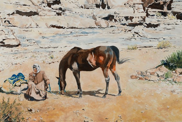 Waiting - a Bedouin and his mare