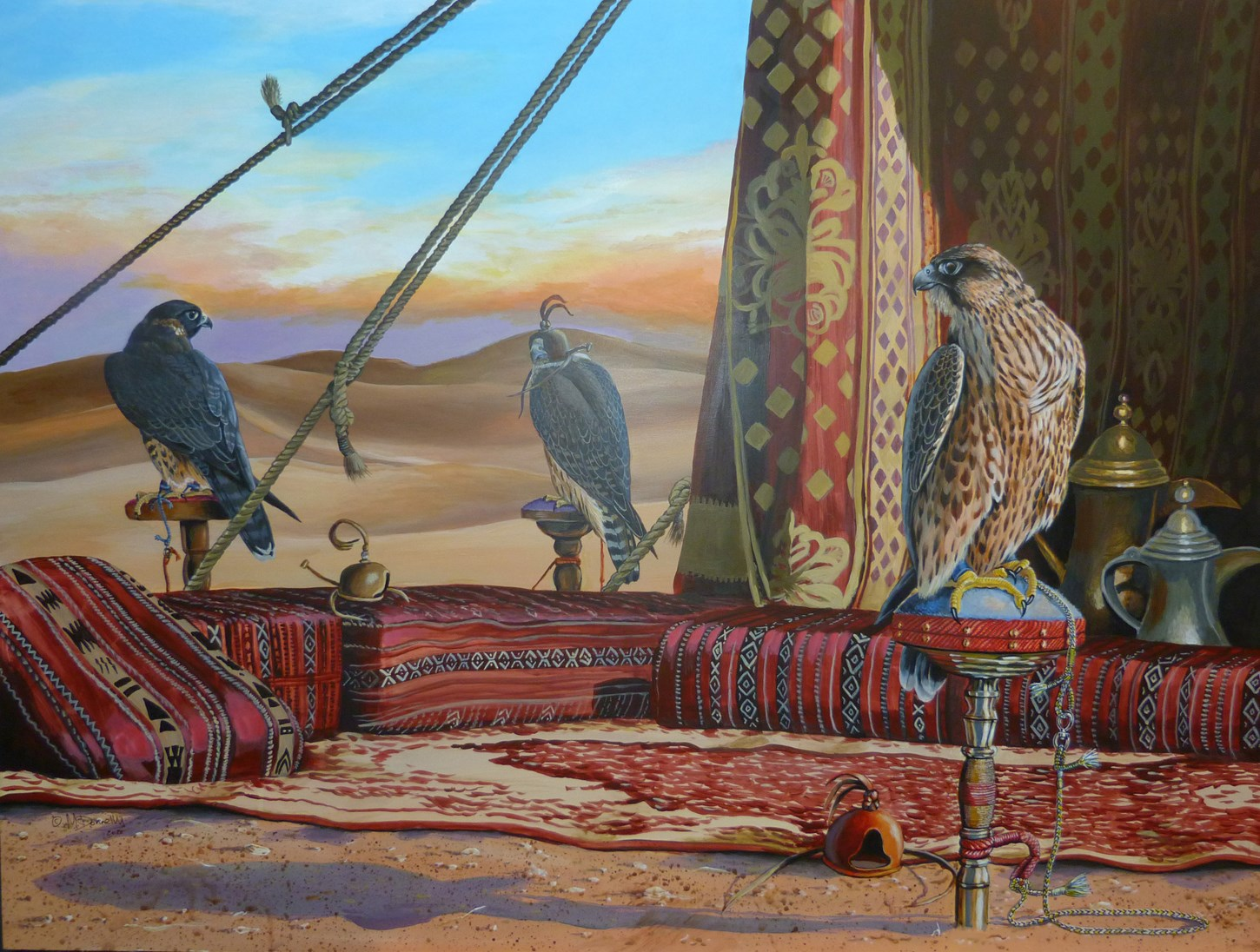 Arab Tent with Falcons