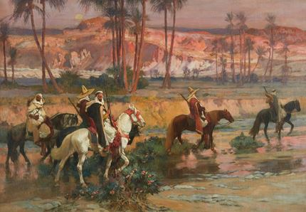 Horsemen crossing a Stream