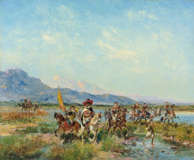 Horsemen crossing a stream