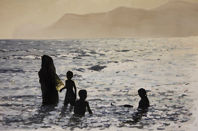 Mother and children bathing. Thumrayt, Salalah, Oman