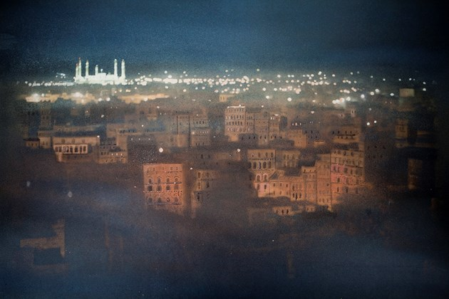 Sana'a at night, Yemen